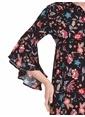 LC Waikiki Kolları Volanlı Çiçekli Uzun Elbise Siyah